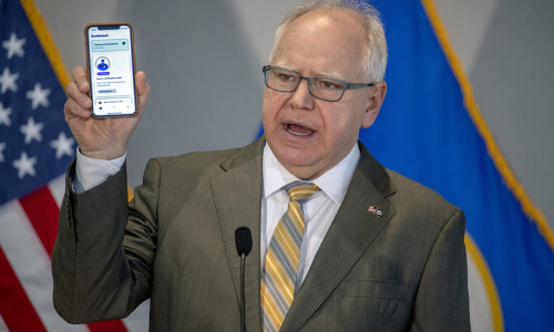 Gov. Tim Walz unveiling the COVIDawareMN mobile tracking app to Minnesotans.